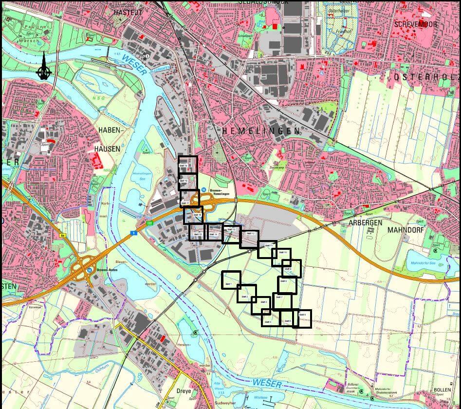 Windpark Bremen Hemelingen Planung Kabeltrasse/Wegetrasse IDN-Projekt 5533