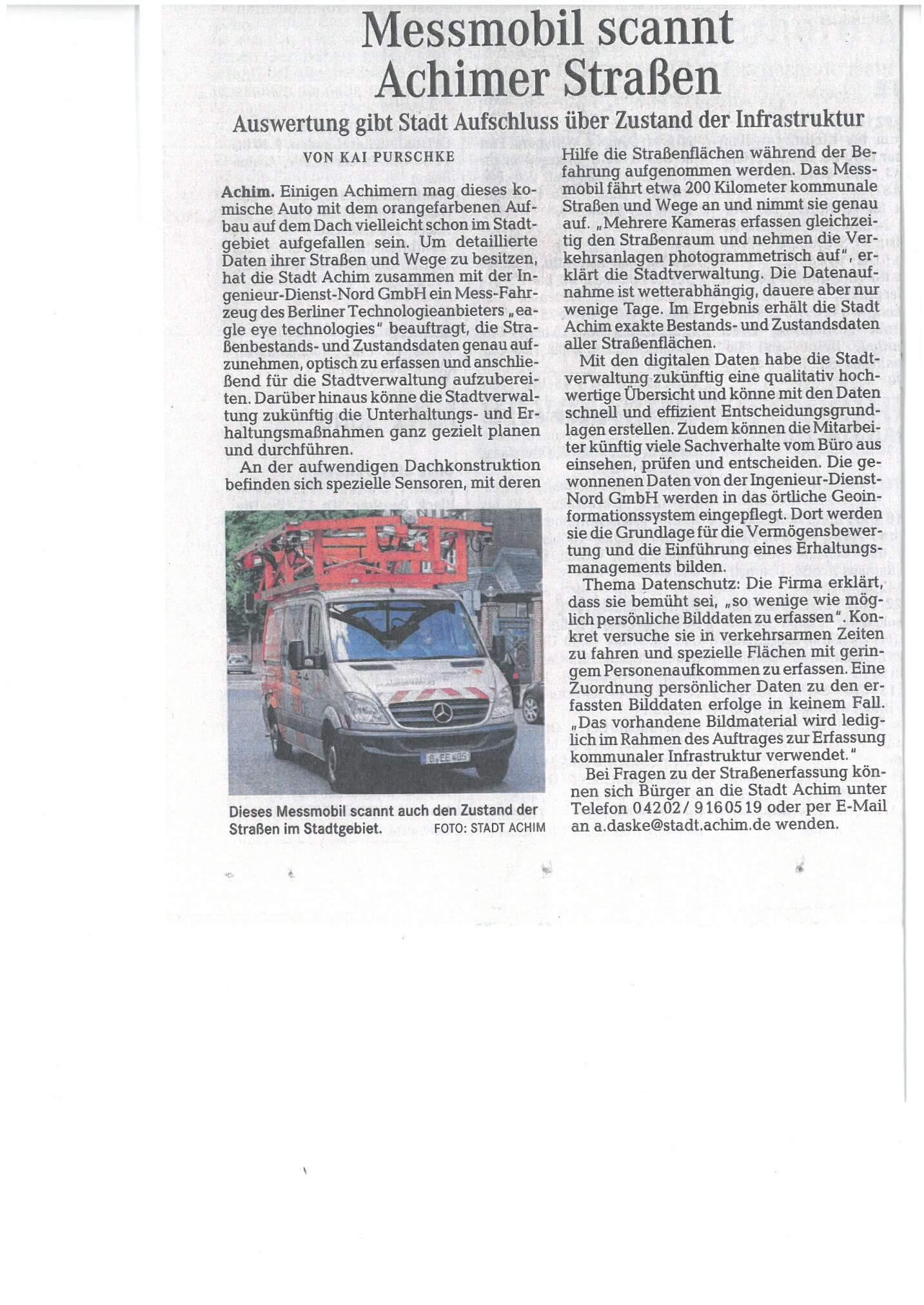 Straßenkataster in Achim - IDN - Referenz - Preseebericht